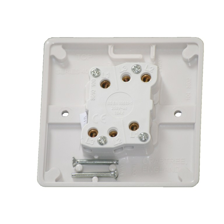 Crabtree 4172 2 Gang 2 Way Light Switch Plate Switch White 10 amp